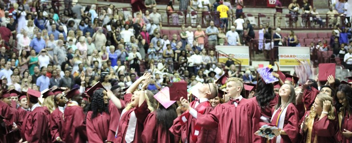 Students tossing caps at graduation
